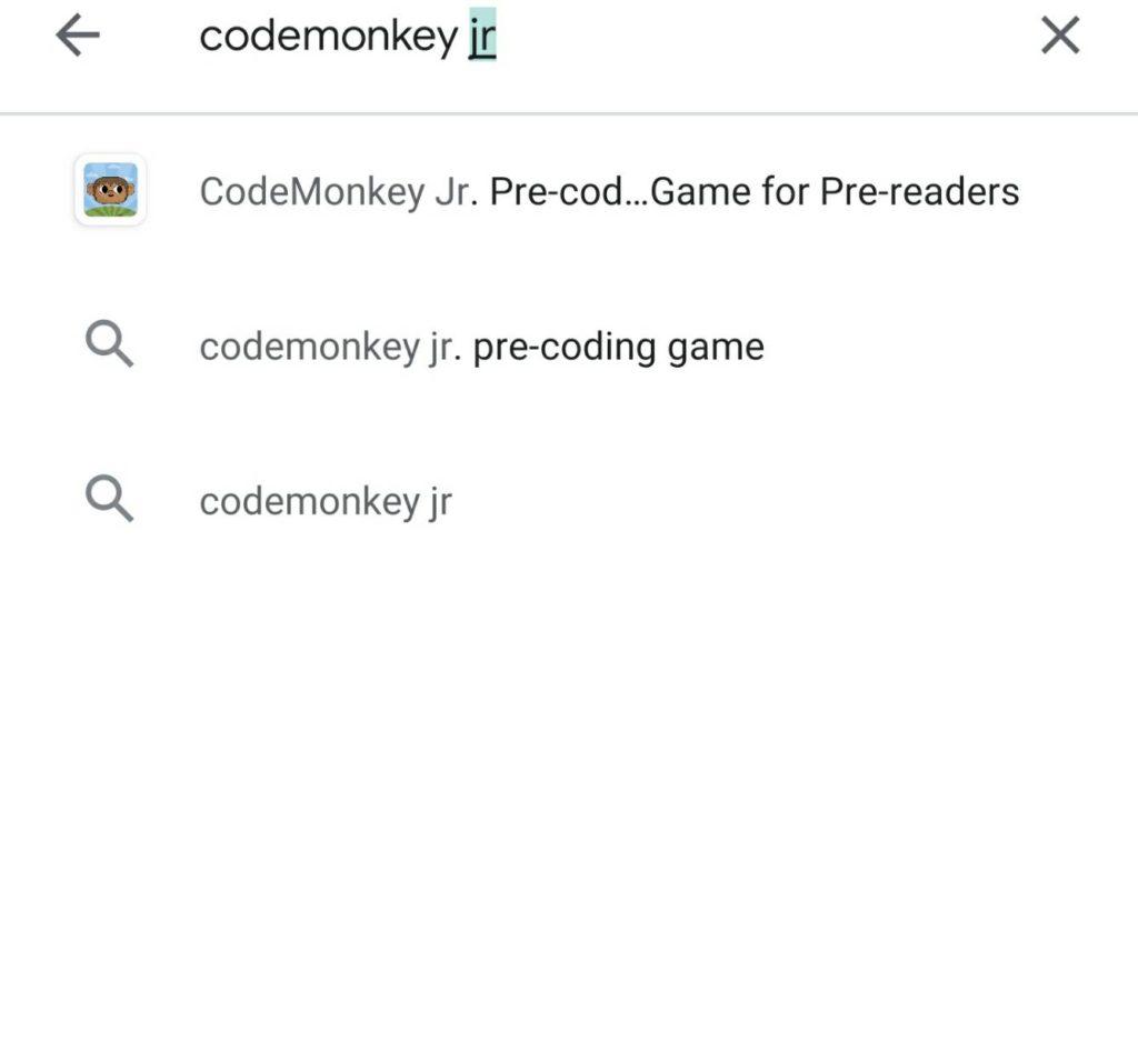 ②Codemonkey jr を入力して検索
