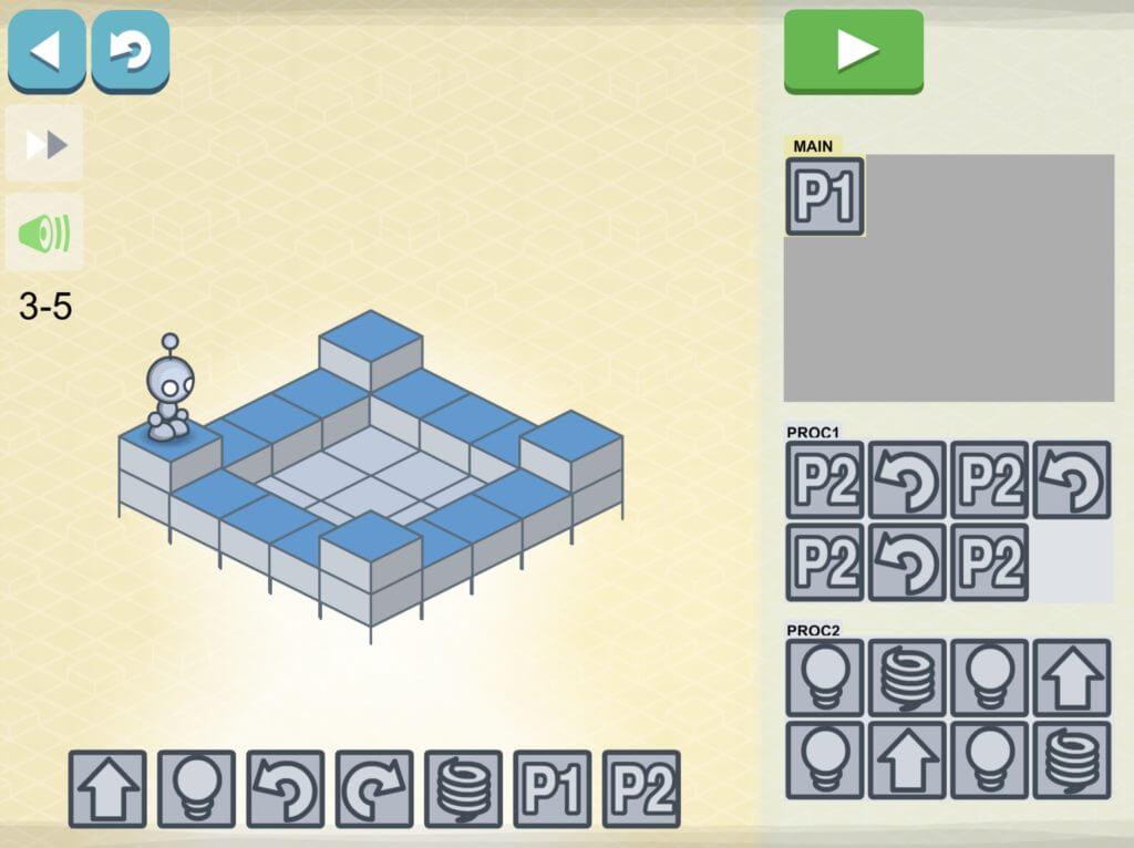 lightbot ループ編 3-5 繰り返し部分をプログラム化してクリアする方法