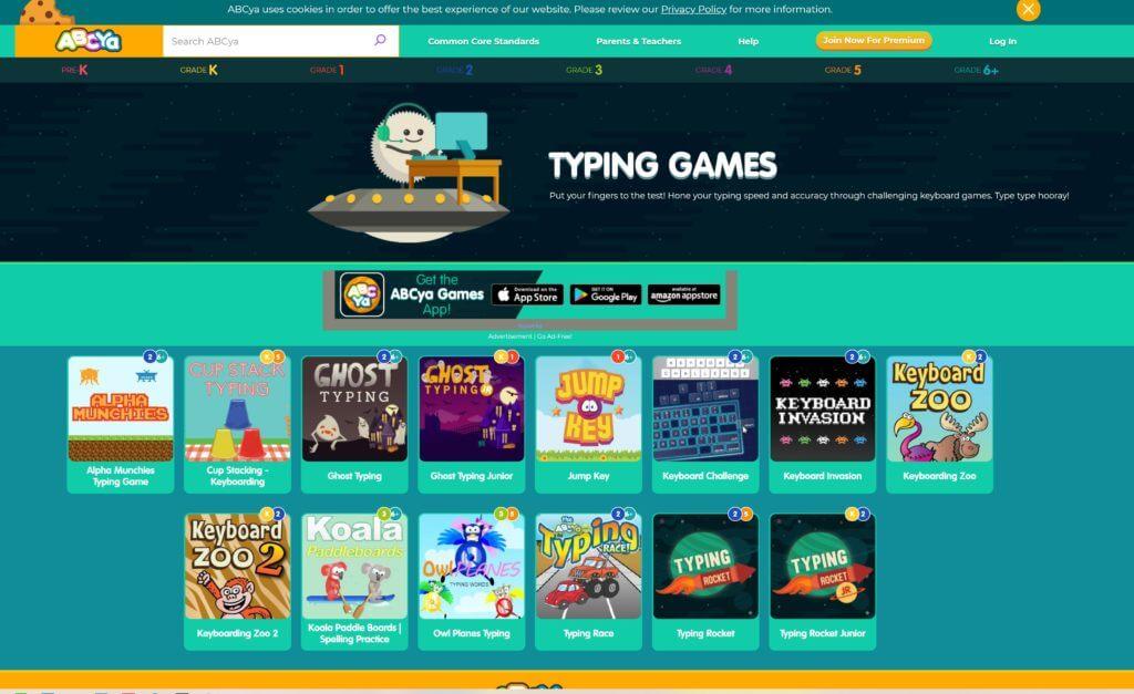 おすすめタイピングゲーム  2. abcya.com