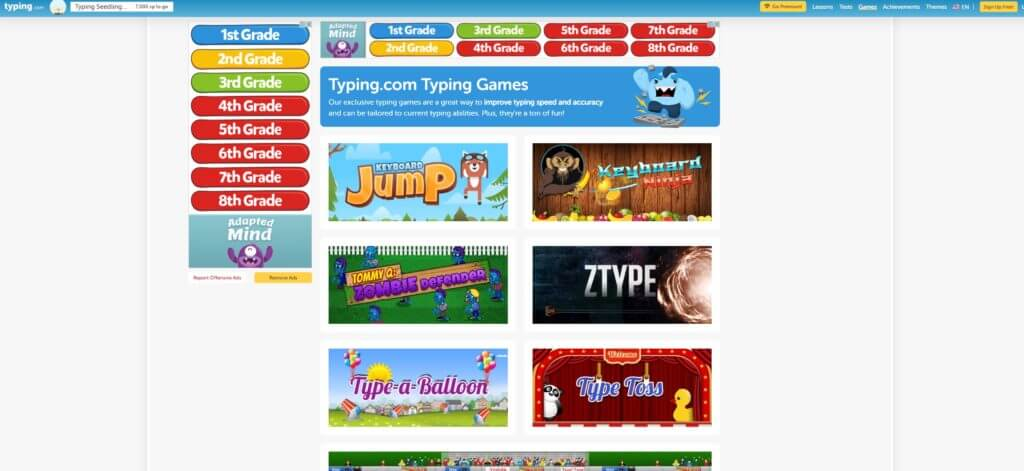おすすめタイピングゲーム3. typing.com
